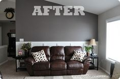 Brown furniture with gray walls.....