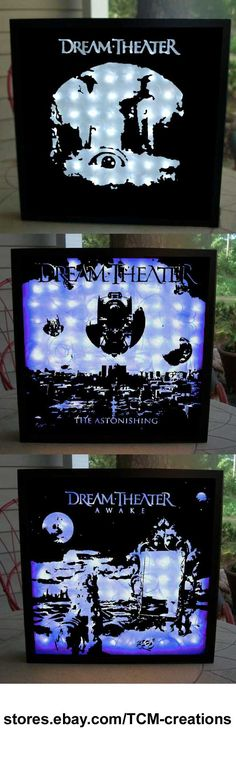 Dream TheaterShadow Boxes with LED lighting.  When Dream And Day Unite, Images And Words, Awake, Falling Into Infinity, Metropolis Pt 2: Scenes From A Memory, Six Degrees Of Inner Turbulence, Train Of Thought, Octavarium, Systematic Chaos, Black Clouds & Silver Linings, A Dramatic Turn Of Events, Dream Theater, The Astonishing, Charlie Dominici, John Petrucci, James LaBrie, John Myung, Mike Portnoy, Mike Mangini, Kevin Moore, Derek Sherinian, Jordan Rudess