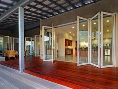 15 Gorgeous Glass Wall Systems, Folding Glass Doors and Sliding Glass Doors Interior Windows, Interior Exterior, Home Interior, Upvc Windows, Folding Glass Patio Doors, Folding Doors, Accordion Glass Doors, Modern Windows And Doors, Glass Wall Systems