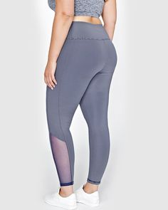 Nola Active Reversible Striped Sports Legging with Mesh Inserts - High Impact