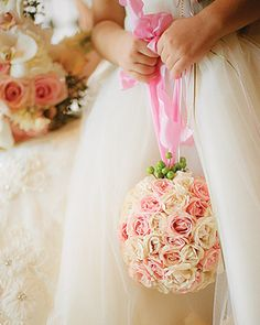 for Amerson : Pink Wedding Bouquets- Flower Girl Bouquet. Instead of a bouquet or basket, have flower girls each hold a pomander of petite roses. Flower Girls, Flower Girl Bouquet, Rose Wedding Bouquet, Rose Bouquet, Bridesmaid Bouquet, Wedding Flowers, Flowergirl Flowers, Bride Flowers, Bridal Bouquets