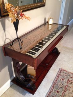 Weber upright repurposed piano I acquired and turned into a beautiful hall table. piano room and piano bar diy home deocor Piano Table, Piano Desk, Piano Bar, Piano Room, Refurbished Furniture, Repurposed Furniture, Furniture Makeover, Repurposed Wood, Upcycled Vintage