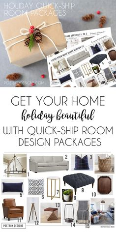 "Introducing the ""Holiday Ready"" Quick Ship Room Package from Postbox Designs Interior E-Design"