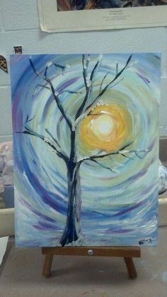 Tree snow sun simple winter painting for beginner. Painting Lessons, Art Lessons, Painting & Drawing, Winter Painting, Winter Art, Easy Paintings, Beautiful Paintings, Wine And Canvas, Art Plastique