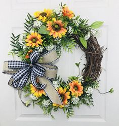 Sunflower Wreath, Summer Wreath, Country Wreath, Front Door Wreath, Everyday Wreath, Natural Wreath, All Year Wreath, Wreath For Door, Summer Door Wreath, Porch Wreath, Back Door Wreath This gorgeous one-of-a-kind Sunflower Wreath will greet your guest from early Spring into late