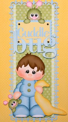 """MOMZ Vertical Border for Scrapbook Pages w/Paper Piecing by Julie """"Cuddle Bug"""""""