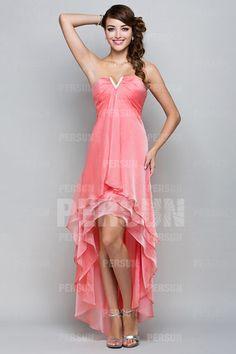 Sexy Beading Sweetheart Chiffon Sheath High Low Cocktail Dress