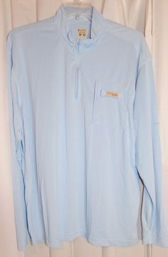COLUMBIA Blue PFG OMNI-SHADE Fishing Long Sleeve 1/4 Zip Pullover Shirt~XLarge  #Columbia #CoatsJackets