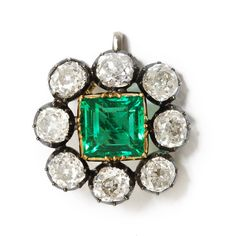 Antique Emerald and Diamond Cluster Brooch