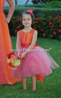 Flower girl dresses in orange cranberry mango pegeen flower girl mango carrot orange coral pink flower girl dresses in tulle by pegeen mightylinksfo