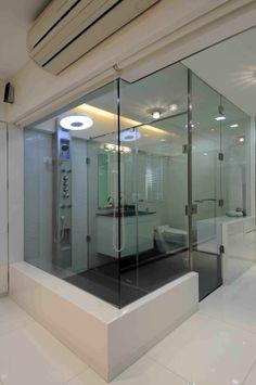 Luxury Master Bathroom with Glass Doors, Designed by Sonali Shah, Architect in Mumbai, Maharashtra, India.