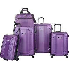 U.S. Traveler Bloomington 5-Piece Spinner Luggage Set ($280) ❤ liked on Polyvore featuring bags, luggage and purple