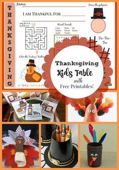 Ideas for a festive and adorable kids table at Thanksgiving! With FREE printables!