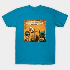 Batman/Monty Python T-Shirt by Made With Awesome. Show everyone that you are a fan of Batman and/or Monty Python with this holy hand grenade t-shirt. Batman T Shirt, Monty Python, Gotham, V Neck T Shirt, Graphic Tees, Batman Stuff, Studios, Mens Tops, Wolf