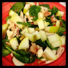 Grilled chicken, pear and spinach salad.
