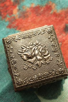 Antique Victorian-Style Jewelry Casket Box- collectible, container, old fashioned, miniature, vintage, flowers, roses