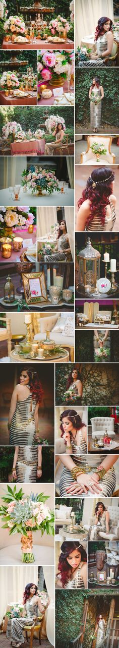 boho glam styled shoot as seen on Xaaza blog. Concept, Production, Planning & Design by Anais Event Planning & Design; Photos by Nudrat Owens; Florals & Props by Botanica Floral & Event Design and Anais Event Planning & Design; Boquet by Botanica. Linens by Anais Event Planning & Design; Location- Courtyard D'Oro, Sacramento. Makeup-Hair Styling: Babita Amar. Model- Loqin Romano. Dress: BCBG. Jewelry/Accessories by Touch of India and Dhillon & Co. Bohemian Wedding Inspiration.