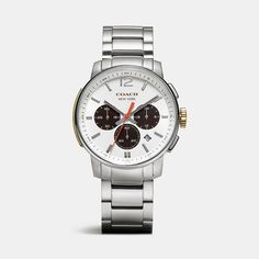 Bleecker Chrono Stainless Steel Bracelet Watch in White by Coach
