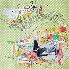 ♥ this!! Swirly journalling, circle shapes, messy accents and embellishments