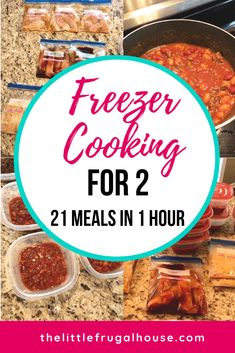 This freezer cooking for 2 plan will help you get ahead of dinnertime, and make meals in bulk to save you time and money. You will love having dinner ready every night with little effort. I'll show you how to make 21 meals for 2 in just 1 hour! Chicken Freezer Meals, Freezable Meals, Freezer Friendly Meals, Easy Freezer Meals, Make Ahead Meals, Freezer Cooking, Meals For Two, No Cook Meals, Freezer Recipes