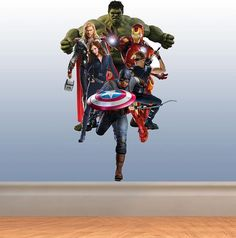 Full Colour The Avengers medium wall sticker nursery kids bedroom decal mural graphic boys superhero marvel heroes