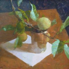 Jon Redmond, Apple Branch, oil on board, 10 x 10 inches Painting Still Life, Paintings I Love, Floral Paintings, Flora Flowers, Still Life Fruit, Fruit Art, Modern Artists, Thing 1, Hyperrealism