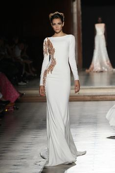 Sleek and Chic White Long Sleeve Gown accented with Gold Beading - Fall Winter 2015/16 | Tony Ward