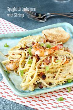 Spaghetti Carbonara with Shrimp