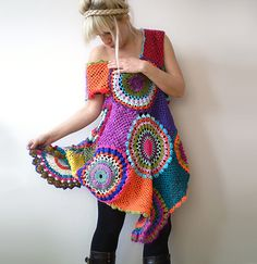 Women's Dress / Tunic - Retro Crochet Circles