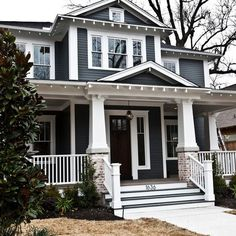 Sherwin Williams Grizzle Gray | Beautiful home exterior (Brick Porch Step)
