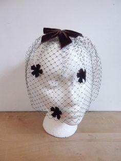 Vintage Hair Net / Velvet Bows Netted Head by looseendsvintage, $14.00