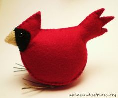 Free Felt Patterns and Tutorials: Free Felt Pattern & Tutorial > Plush Cardinal Bird