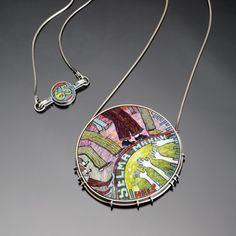 """Cynthia Toops1965 :  Necklace in sterling silver and polymer micro-mosaic. Metalwork by Chuck Domitrovich. 3"""""""