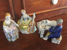 Vintage Japanese Figurines, Set of Classical Musicians, Made in Occupied Japan, Violinist, Cello Player, Pianist with Separate Piano by AntiqueologieTheShop on Etsy