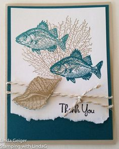 "Image of a card, stamped with Stampin' Up! Stamp Set ""By the Tide."" Island indigo using white, Island Indigo, and crumb cake card stock."