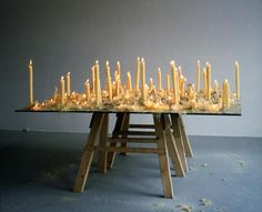 ANYA GALLACCIO No Place Better Than This, 1996 glass, wood and candles