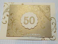 Golden 50th Anniversary Card / invite, gilded edges, gold on gold, WOW #50thAnniversaryCard #GoldenAnniversary #cardmaking