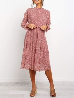 Temperament Print Midi Dress Modest Dresses, Stylish Dresses, Fashion Dresses, Modest Fashion, Women's Fashion, Floral Shirt Dress, Maxi Dress With Sleeves, Floral Dresses, Outfits Jeans