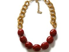 Red and Gold acrylic Beadwork necklace by ShimmerTreeJewelry, $23.50