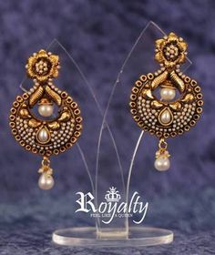 $33 Royal Polkis Round Earrings, Pearls Studded