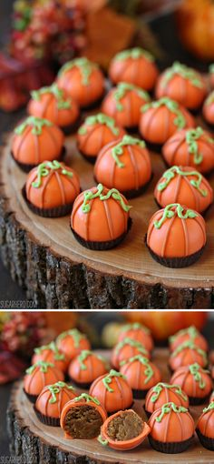 Pumpkin Bread Truffles - filled with a mix of moist pumpkin bread and cream cheese frosting! | From SugarHero.com #halloween #fall #pumpkin