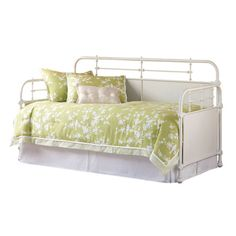 Distressed metal daybed with solid center panels and a pull-out trundle.    Product: Daybed and trundleConstruction ...