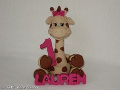 Giraffe Birthday Cake Topper - Polymer Clay Figurine Collectible