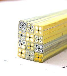 Square Polymer Clay Extruder Cane Yellow and Grey por LyamayevaClay