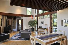Living Room. Comfortable Thanksgiving Living Room Decoration Improvement Autumn Design Ideas : Enchanting Contemporary Thanksgiving Living Room In Lopez Island Residence With Chalet Ceiling And No Septum Room Between Living Room With Dining Room Design Ideas ~ wegli
