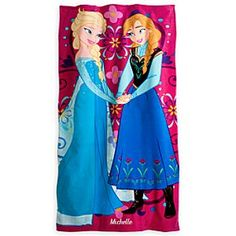 Disney Anna and Elsa Beach Towel - Personalized - Frozen   Disney StoreAnna and Elsa Beach Towel - Personalized - Frozen - After diving into the wonderful winterland story of Frozen, she can dry off with this bold beach towel featuring sisters Anna and Elsa. Personalize it so she'll make a name for herself at the beach or pool.