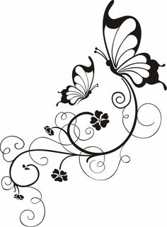 Blumenranken Tattoo: 20 beautiful templates for various parts of the body - Tattoos - Protein Butterfly Drawing, Butterfly Tattoo Designs, Body Art Tattoos, New Tattoos, Body Template, Branch Tattoo, Tattoo Templates, Wood Burning Patterns, Arabesque