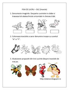 Planse de colorat si fise pentru copii: DLC - FISE de lucru cu Insecte pentru copiii de gradinita Preschool Family Theme, Preschool Activities, Educational Activities For Kids, Infant Activities, Pre K Math Worksheets, Spring Crafts For Kids, Math For Kids, Kids And Parenting, Coloring Books