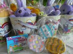Treat Buckets with stuff bunnies & easter cookies Easter Cookies, Buckets, Easter Bunny, Bunnies, Treats, Party, Kids, Sweet Like Candy, Young Children