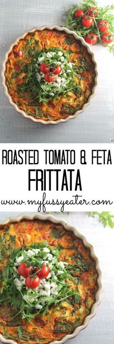 A delicious and healthy frittata or crustless quiche, made with roasted tomatoes, feta cheese and spinach. A great way to use up leftovers. love eating this for dinner as well! Veggie Recipes, Vegetarian Recipes, Cooking Recipes, Healthy Recipes, Feta Cheese Recipes, Cheese Food, Greek Recipes, Goat Cheese, Cheddar Cheese